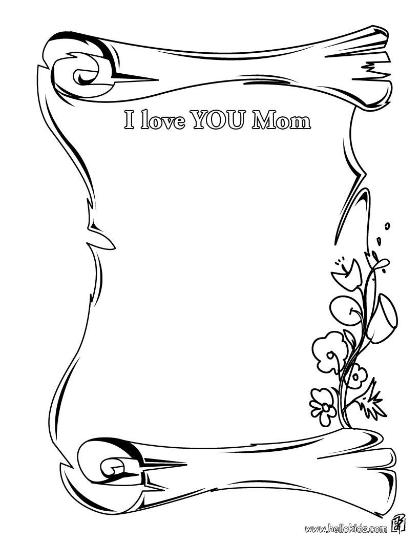 Coloring Page I Love You Mom Mom Coloring Pages Mothers Day