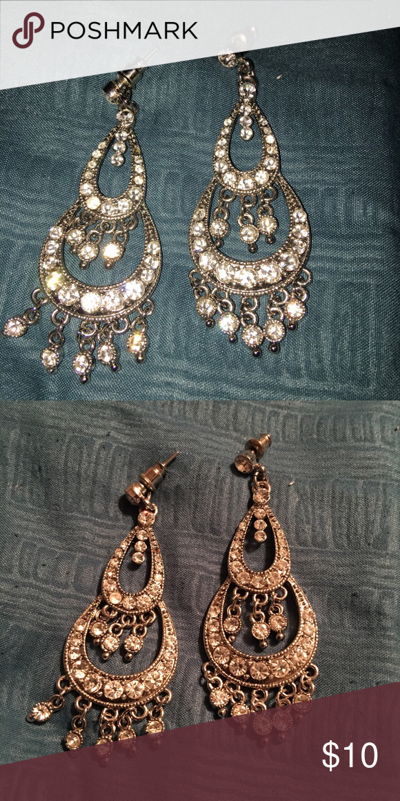 White crystals chandelier earrings   D, Chandeliers and Costumes