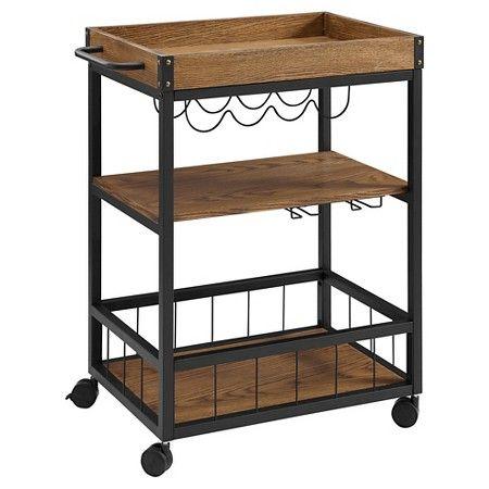 2 Piece Austin Kitchen Cart Metal/Black - Linon Home Decor Kitchen