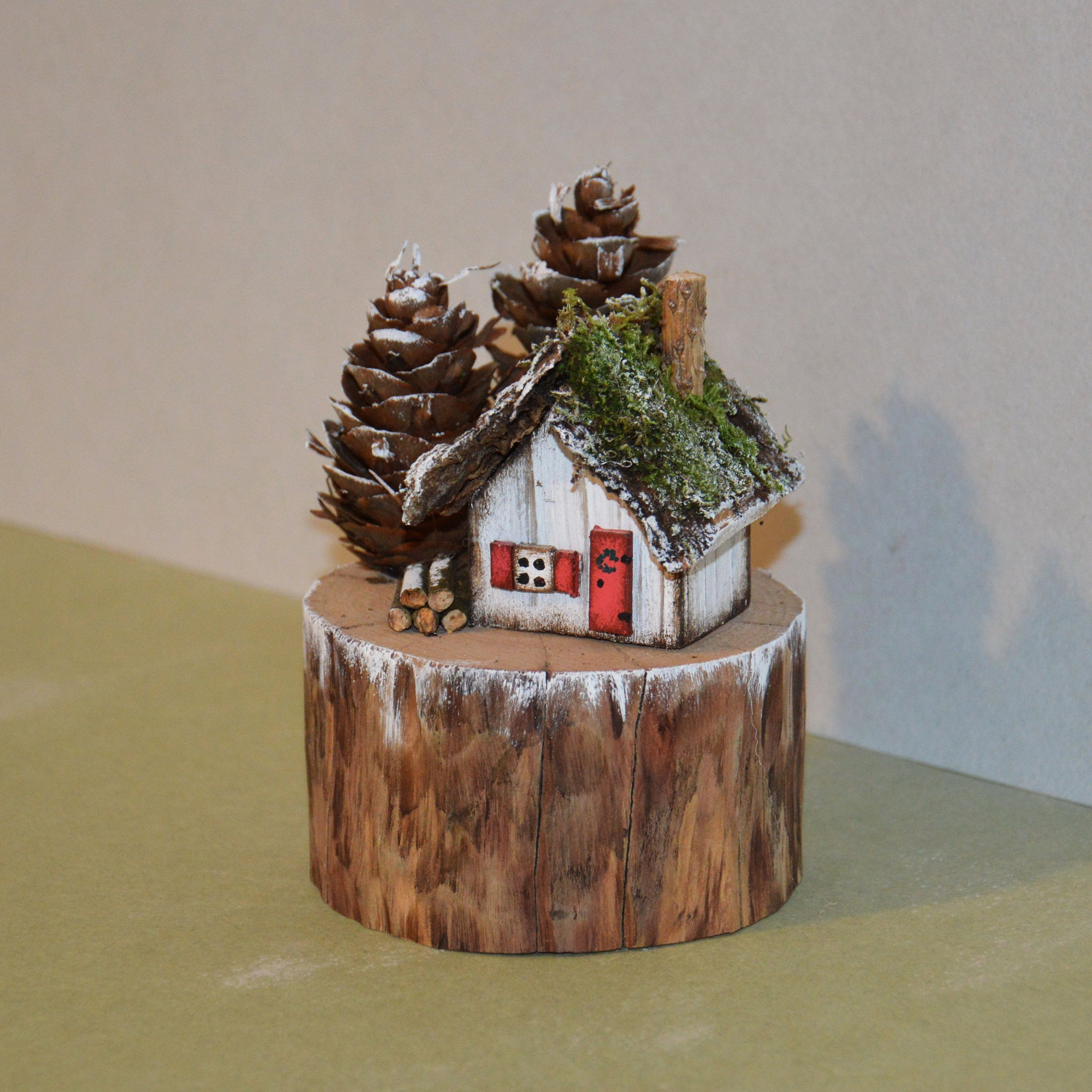 Little Wooden Houses Christmas Miniatures Winter House Rustic House Driftwood Art Forest House Little Village House Town House Mini House Winter House House Ornaments Forest House