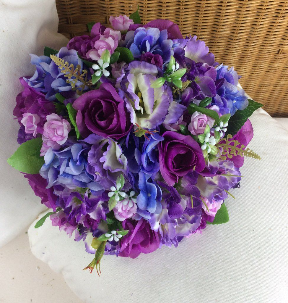 Wedding Bouquet Of Artificial Blue Violet And Purple Silk Flowers