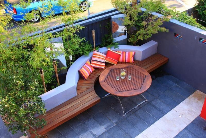 gartenbank aus beton mit holzaufsatz im vorgarten | garten, Gartenarbeit ideen