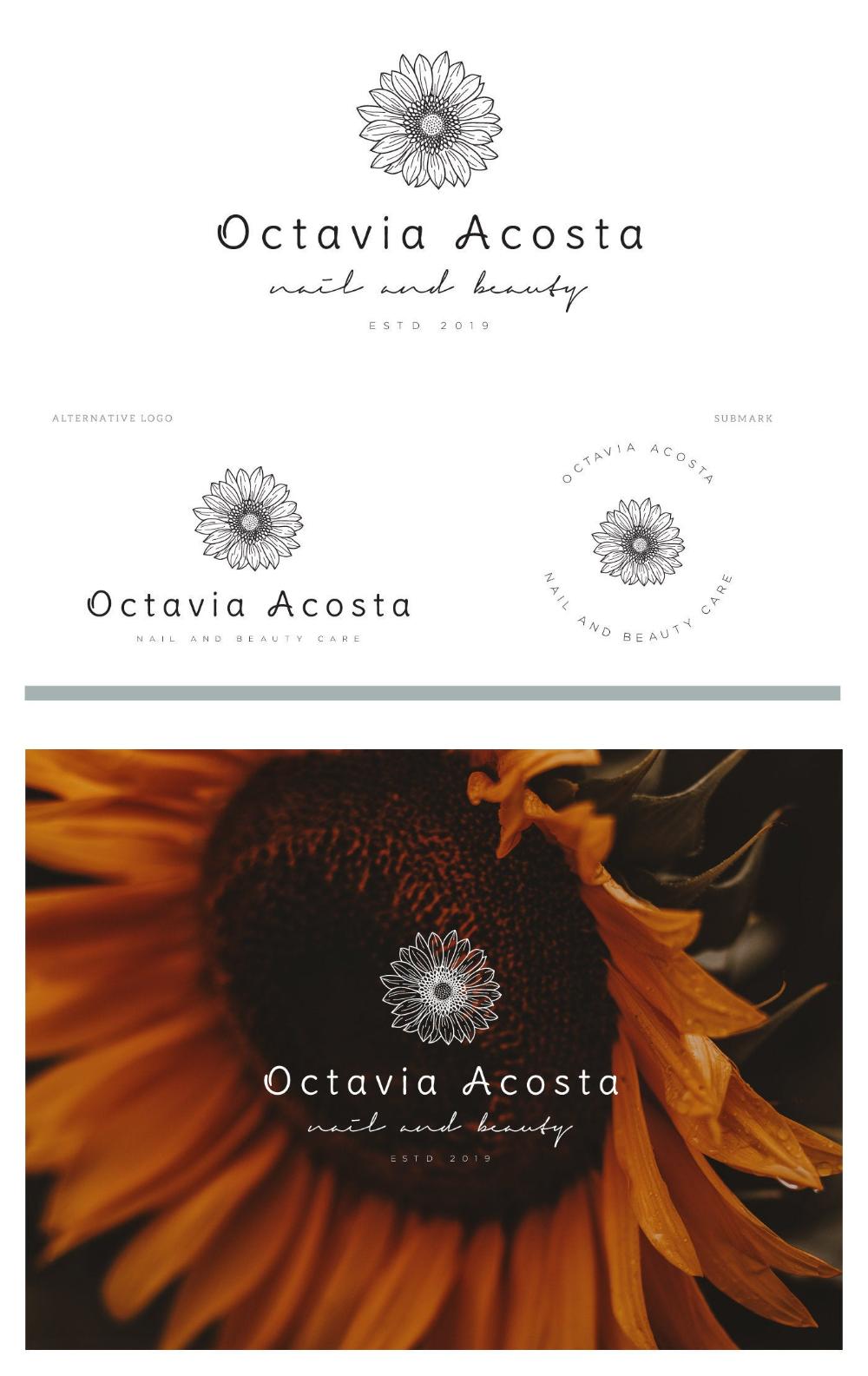 Botanical Logo, Sunflower Logo, Photography Logo, Skin