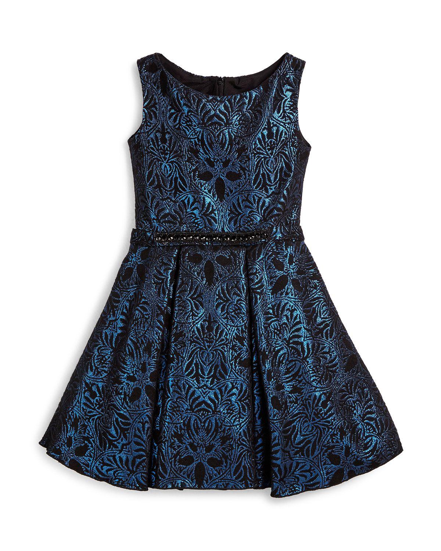 Sleeveless Damask A-Line Dress, Blue, Size 7-14, Size: 8 - Zoe