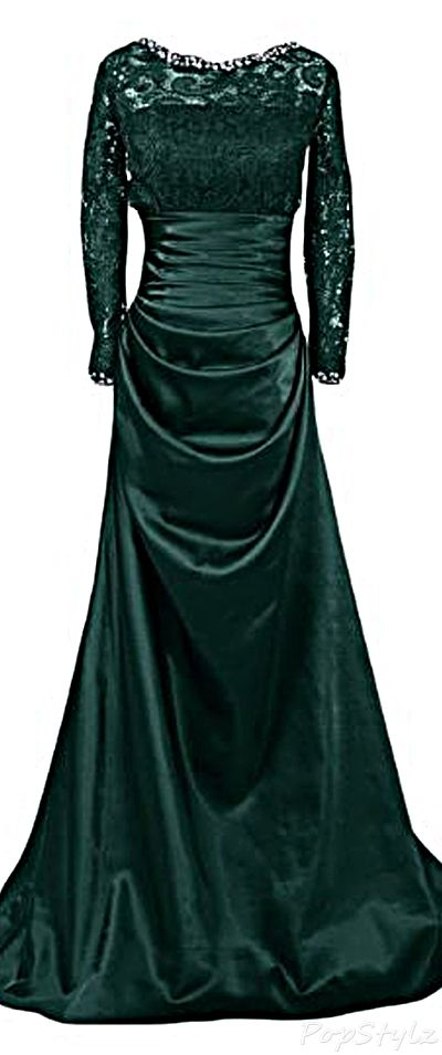Sunvary Satin and Lace Long Formal Dress