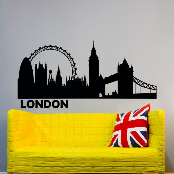 London Skyline Wall Decal City Silhouette Britain England London ...