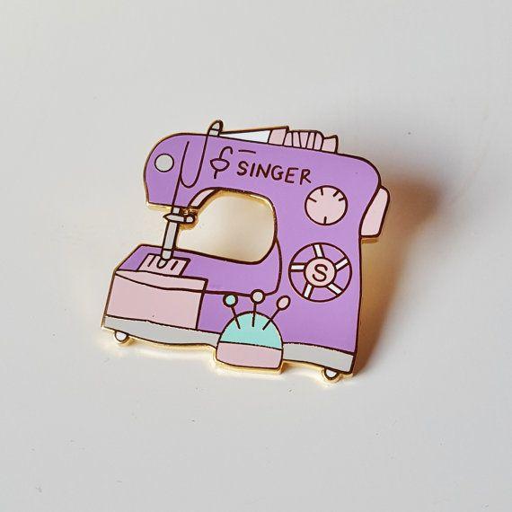 Sewing Machine enamel pin by FickleCraftroom on Etsy   Craft Enamel
