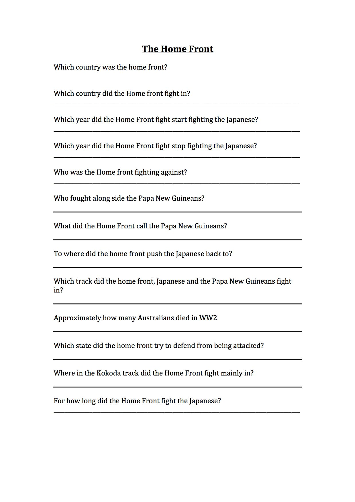 Worksheet About The Homefront