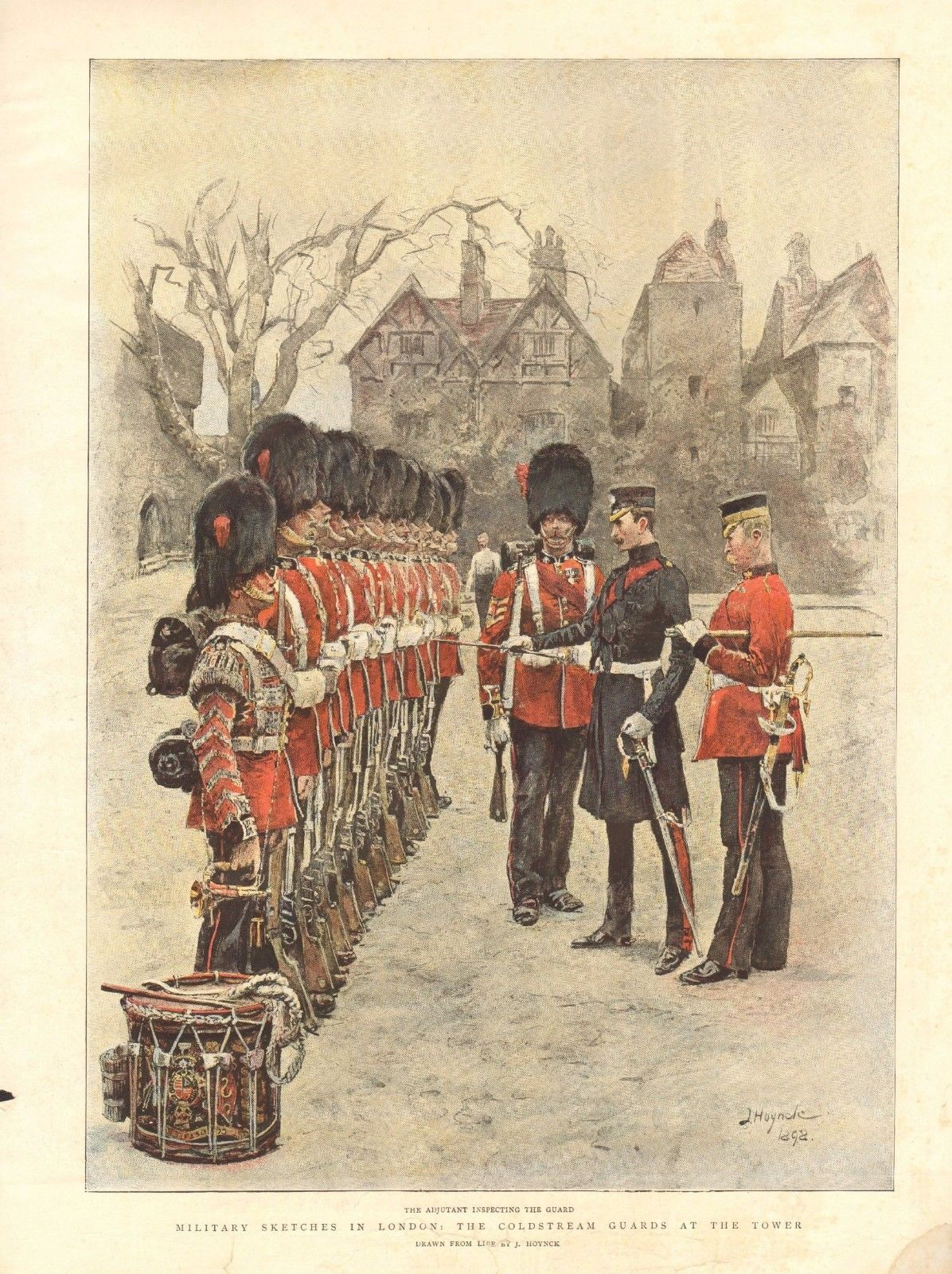 British; Coldstream Guards, Adjutant inspecting the guard at the Tower of London, 1898