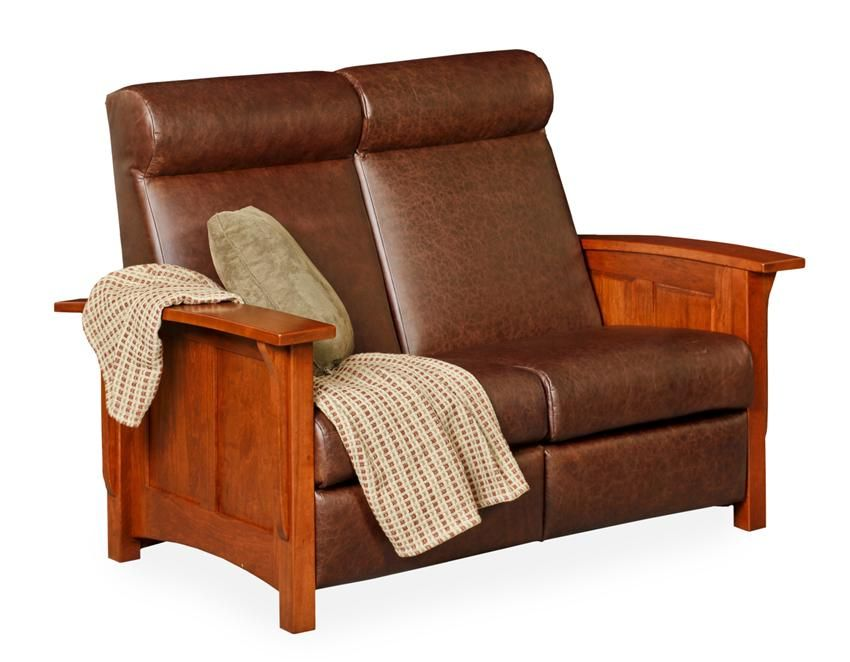 Amish Paneled Mission Recliner Loveseat Sofa Amish Sofas And Ps