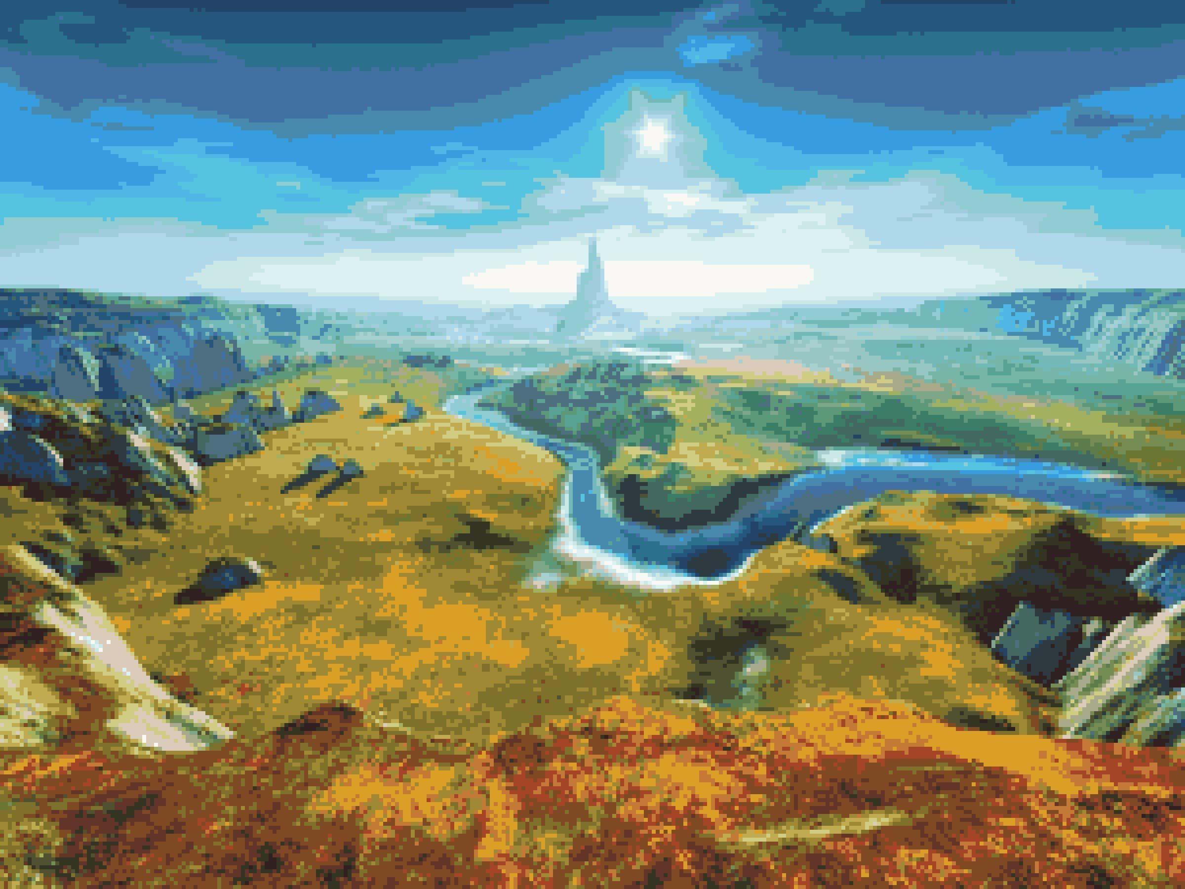 Fantasy landscape fantasy land inspired crossstitch