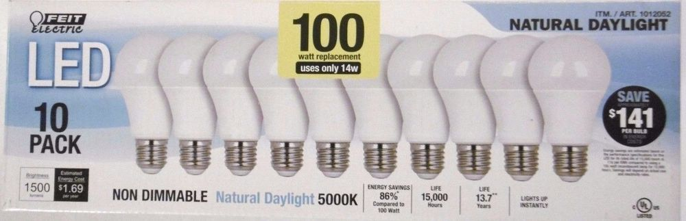 100w Led 10 Pack Feit Replacement Bulbs 100 Watts 1500 Lumens Uses Only 14 Watts Bulb Led Led Lights