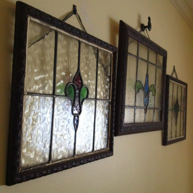 Framed Stained Glass Wall Decorations Vintage Home