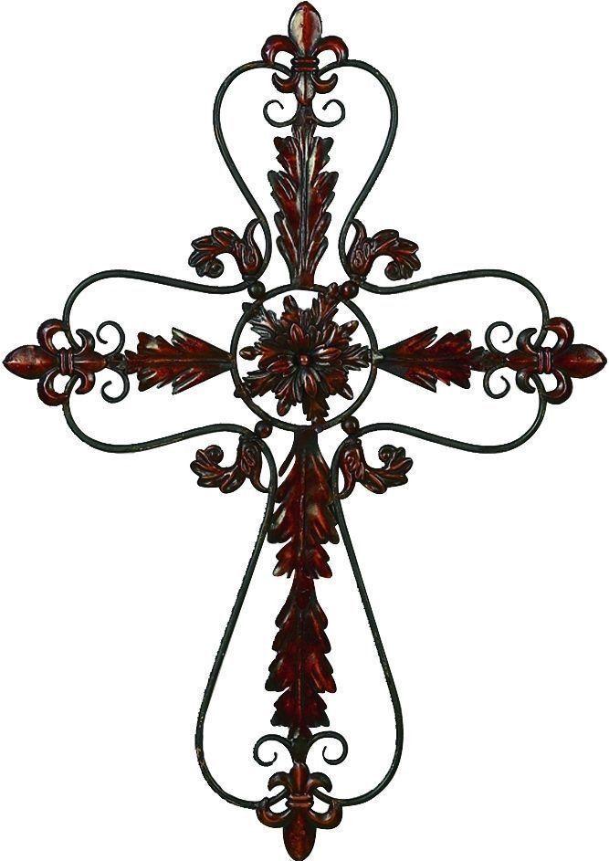 "Metal Cross Wall Decor 37"" fleur-de-lis metal christian cross wall art hanging medieval"