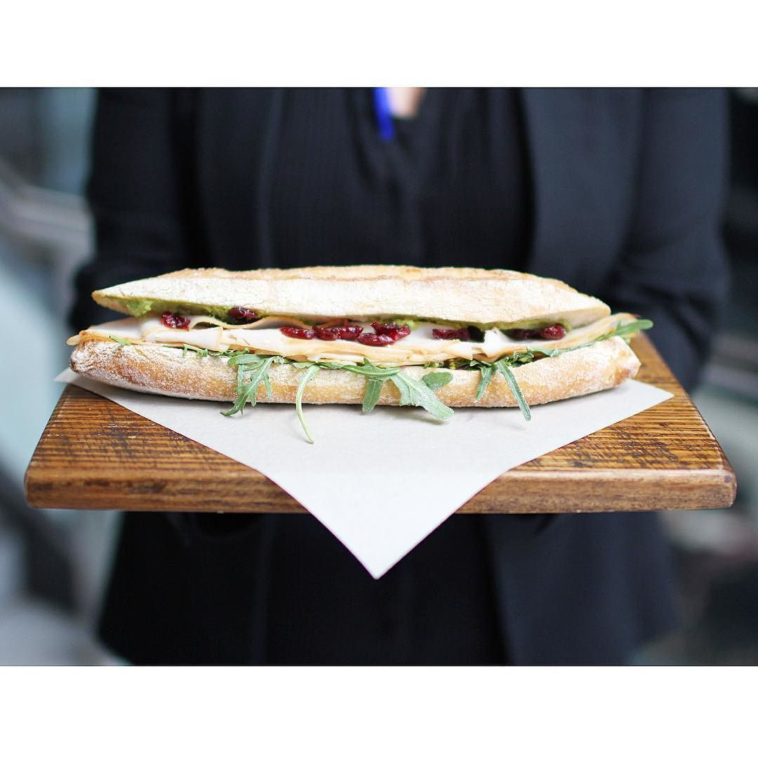 In the spirit of #thanksgiving weve created the #turkey baguette. Treat yourself this #lunch and get in while the awesomeness lasts! #happythanksgiving - made by the talented crew from @collinssquarecatering  by long____shot