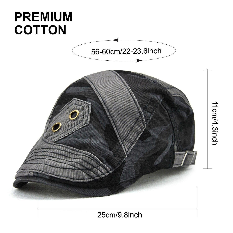 54f47d3495e Men s Flat Hat Cotton Newsboy Cap Adjustable Ivy Cabbie Hat Gatsby ...