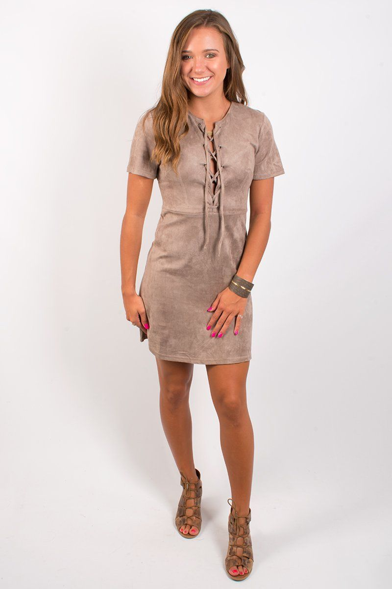 Tied to Suede Dress - Taupe