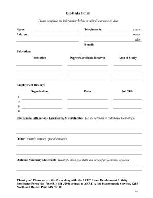 online biodata form lessons pinterest blank form
