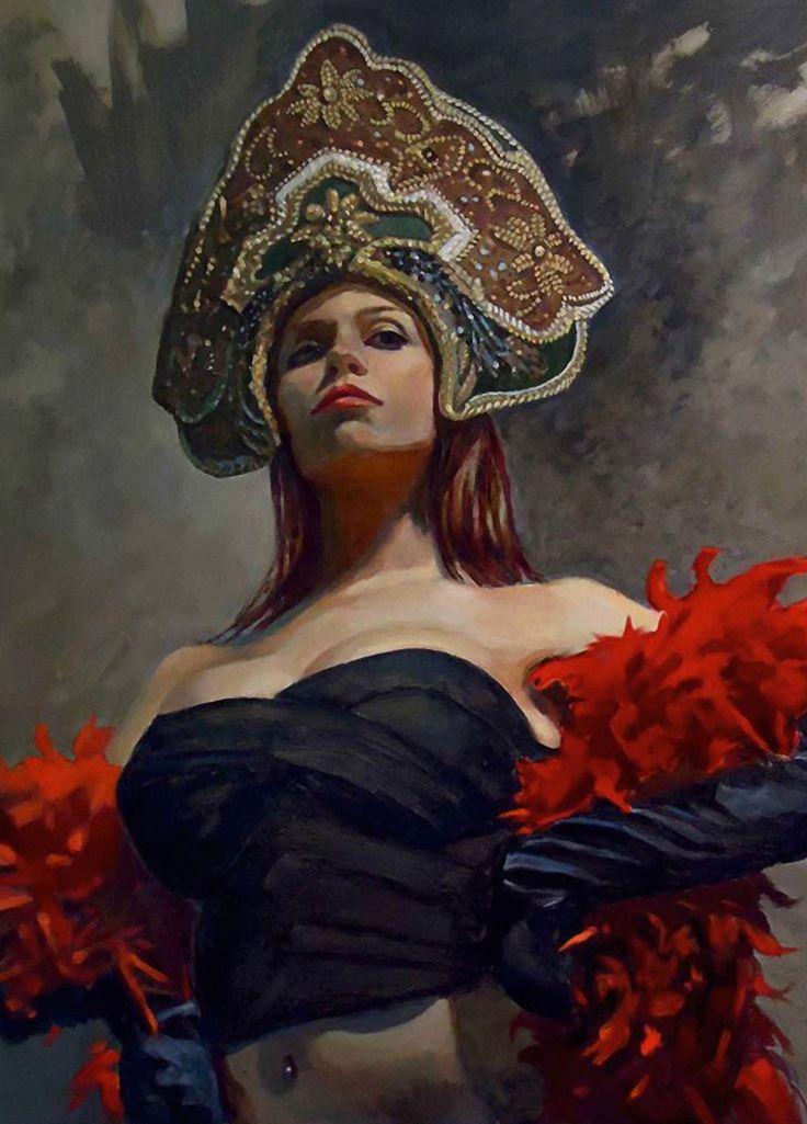 """Queen of Studio City"" - Michael Foulkrod {contemporary figurative art beautiful female décolletage standing woman painting #loveart #2good2btrue} michaelfoulkrod.blogspot.com"