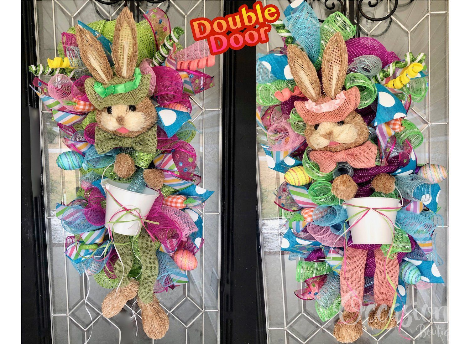Double Door Easter Wreaths, Easter Door Swag, Easter Bunny Door Hanger, Easter Decoration, Spring Wreaths, Double Door Wreaths #doubledoorwreaths Double Door Easter Wreaths, Easter Door Swag, Easter Bunny Door Hanger, Easter Decoration, Spring Wreaths, Double Door Wreaths by OccasionsBoutique on Etsy #doubledoorwreaths