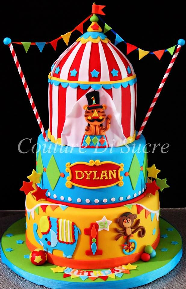 3 Tier Circus Themed Cake With Images Circus Birthday Cake
