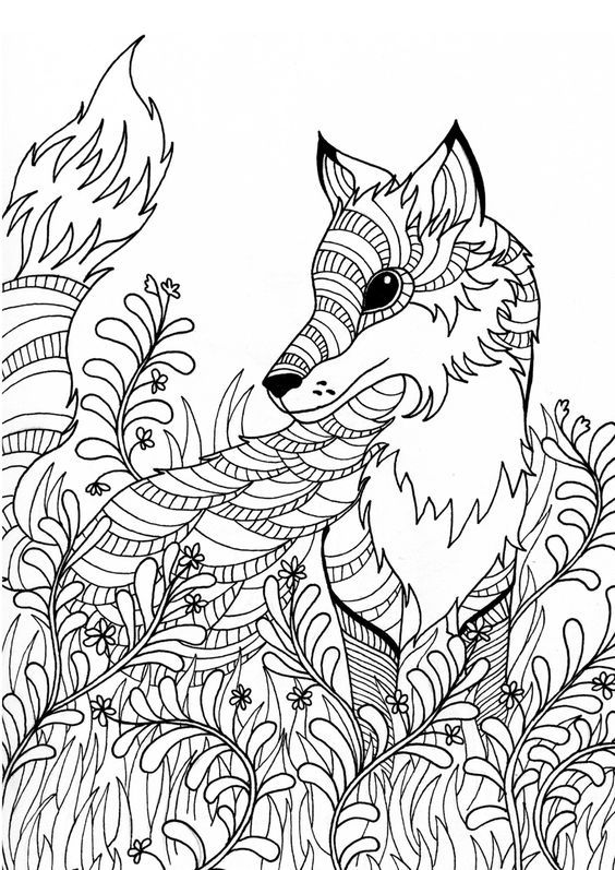 Fox adult colouring page : Colouring In Sheets - Art ...