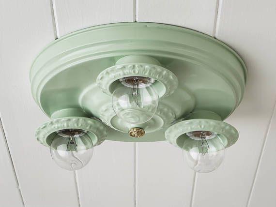 Rewired Vintage Flush Mount Ceiling Light Fixture Chandelier Jadeite Mint Green Brass Orn Flush Mount Ceiling Light Fixtures Metal Light Fixture Hanging Lights
