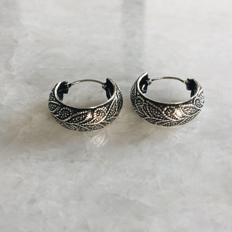 8ff7afd6b 18mm floral batik hoops, Sterling silver boho style hoops, Silver floral  Bali hoop earrings, Bali hoops, Tribal hoops (H50) by SilverCartel on Etsy
