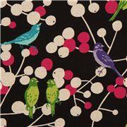 Tissu enduit laminé Echino noir, oiseaux et baies, Cherry   Tissu laminé, Tissu, Papier peint