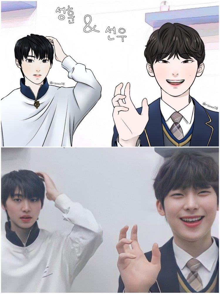 Sunghoon And Sunoo Enhypen Fanart Gambar Wallpaper Ponsel Suami Cartoon wallpaper sung hoon enhypen