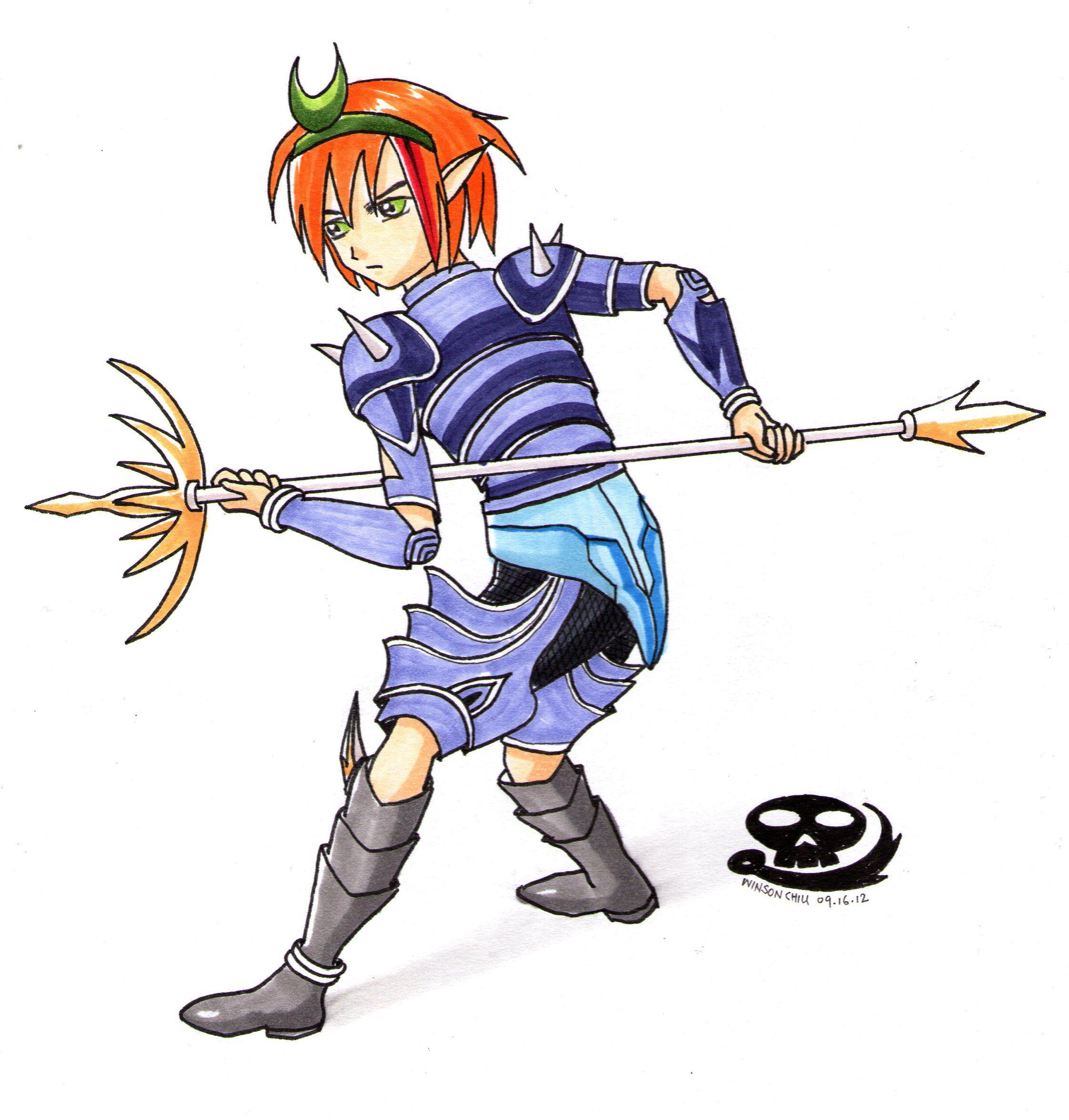 boy elf playing his new weapon. Manga drawing, Manga
