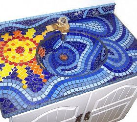Mosaic Sink in my children's bathroom- if one could DREAM!!!