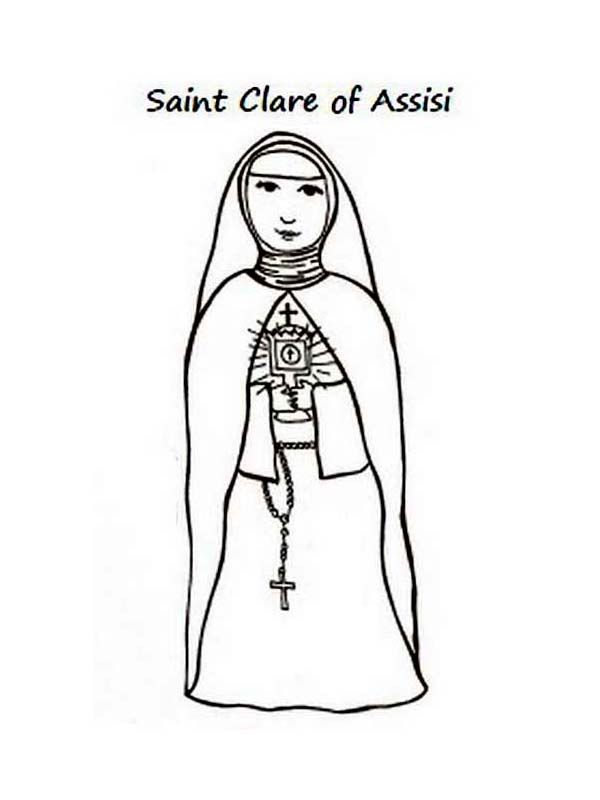 St Clare Of Assisi All Saints Day Coloring Page Clare Of Assisi