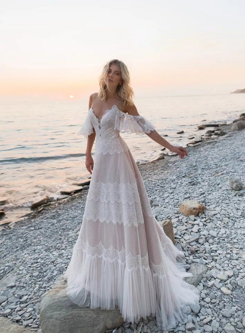 Romantic Boho Beach Themed Wedding Inspiration For Your Big Day Boho Style Wedding Dress Long Wedding Dresses Beach Wedding Dress