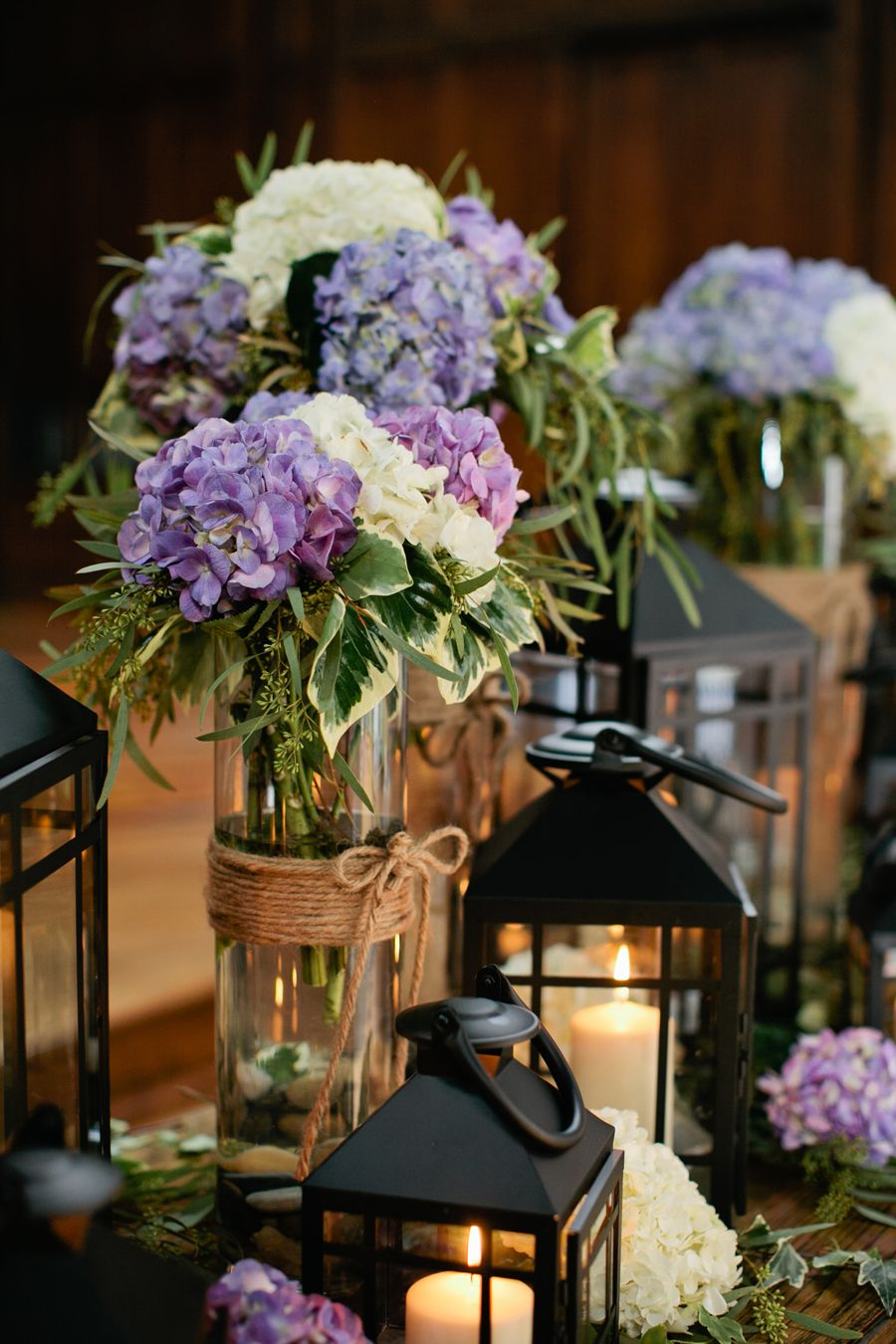 Rustic blue and cream hydrangea arrangements