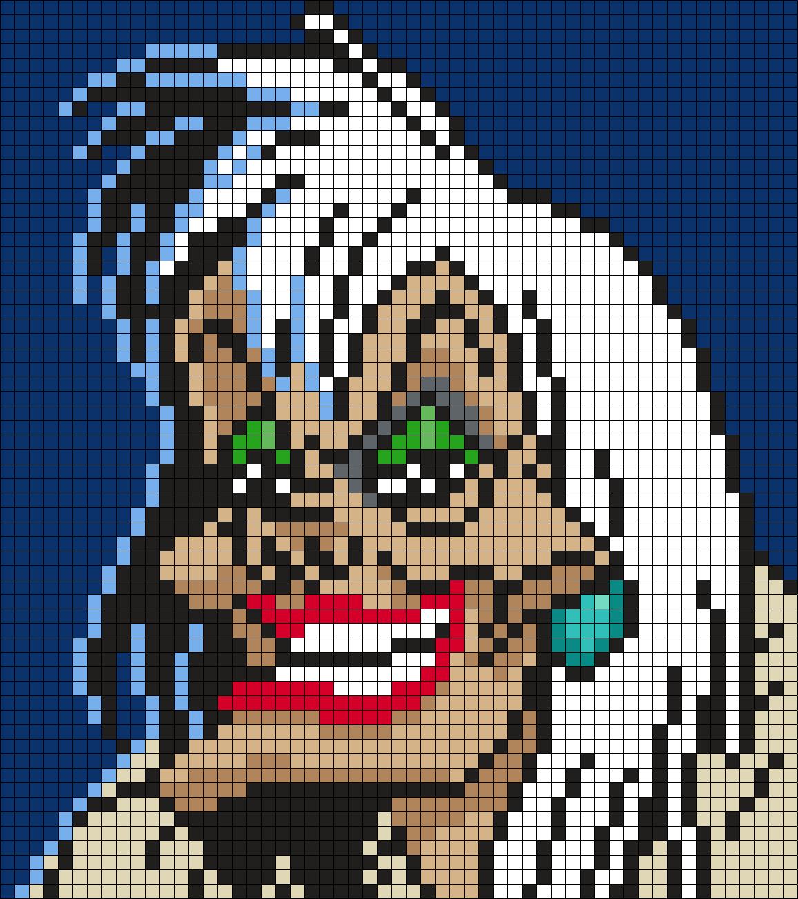 Cruella de Vil from 18 Dalmations (18 X 18 Square Grid Pattern