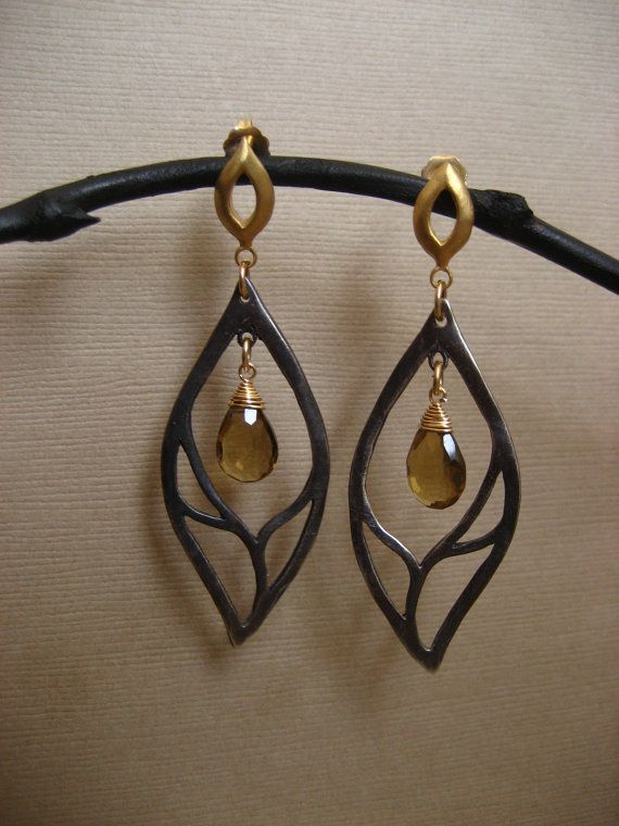 Leaf earrings with whiskey quartz briolettes - gunmetal solid sterling silver and vermeil