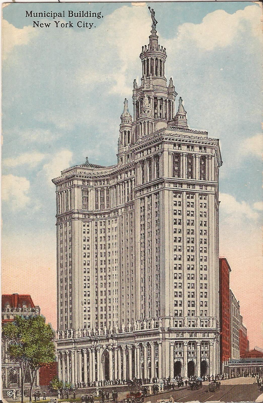 vintage postcard new york city manhattan municipal building architecture postcard new york city new york city manhattan vintage postcard new york city