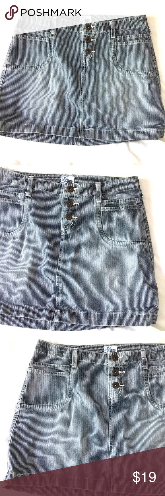 8e2549d907 Retro Striped Mini Jean Skirt GUC Comes from smoke free home 15in Waist -  15in Length TILT Skirts Mini