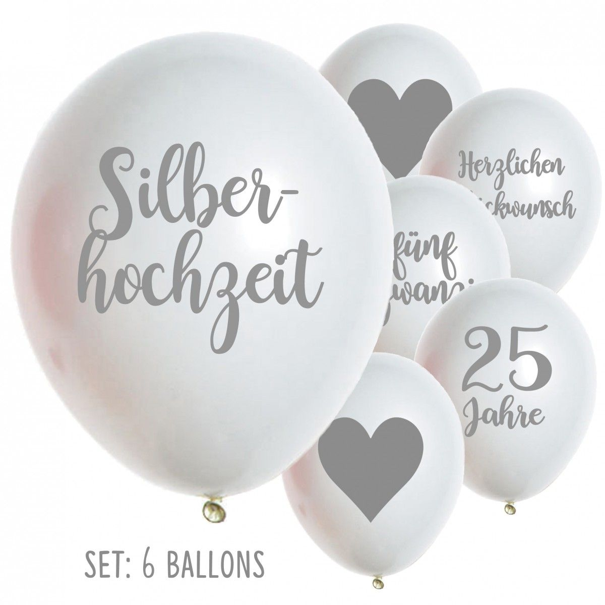 Silberhochzeit ballons luftballons 25 jahre hochzeit for Dekoration silberhochzeit