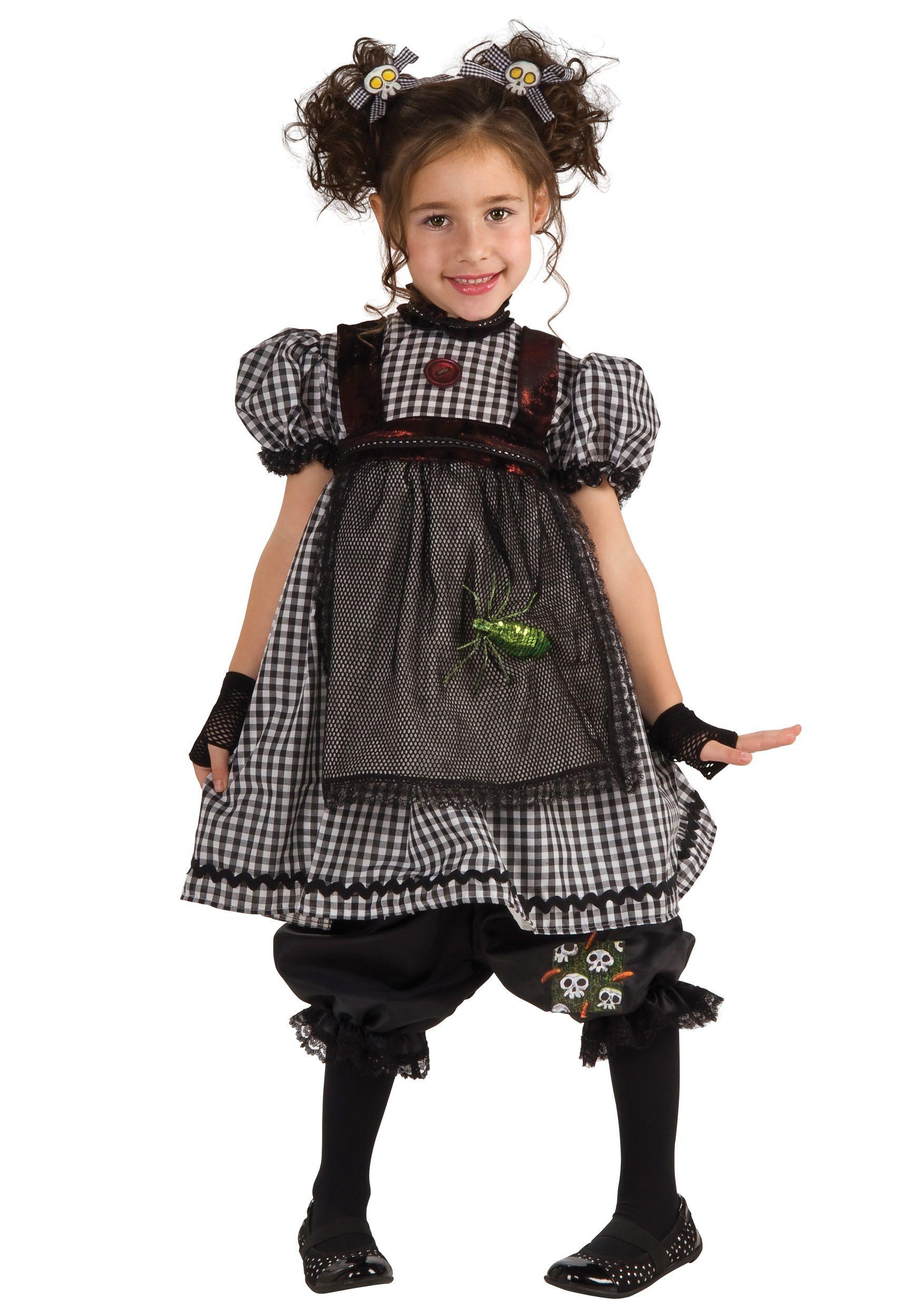 Child Gothic flower girl dress 100% polyester Black and white ...