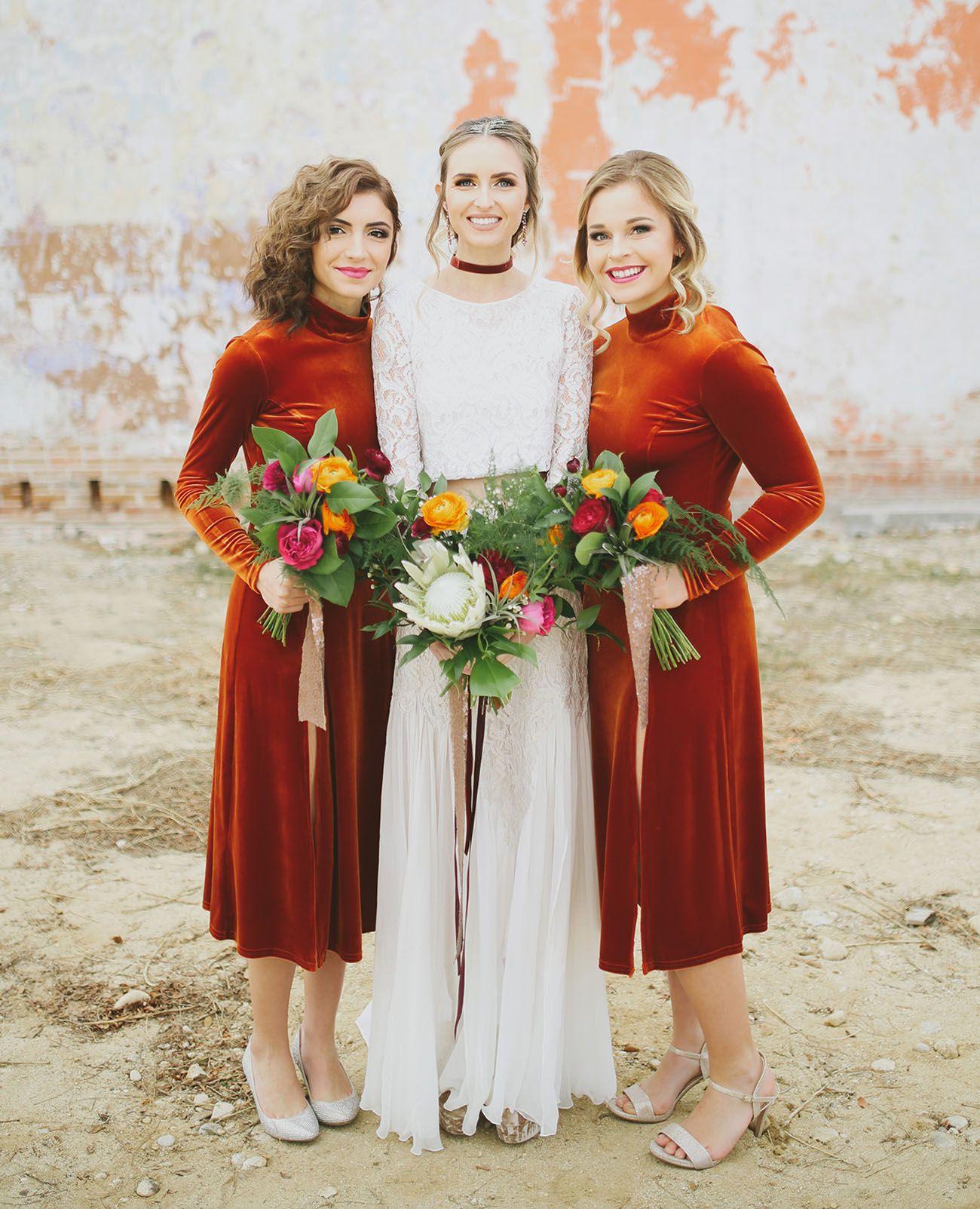 6c6e245805ad A Velvet Boho-Inspired New Year's Eve Wedding | BRIDESMAIDS DRESSES ...