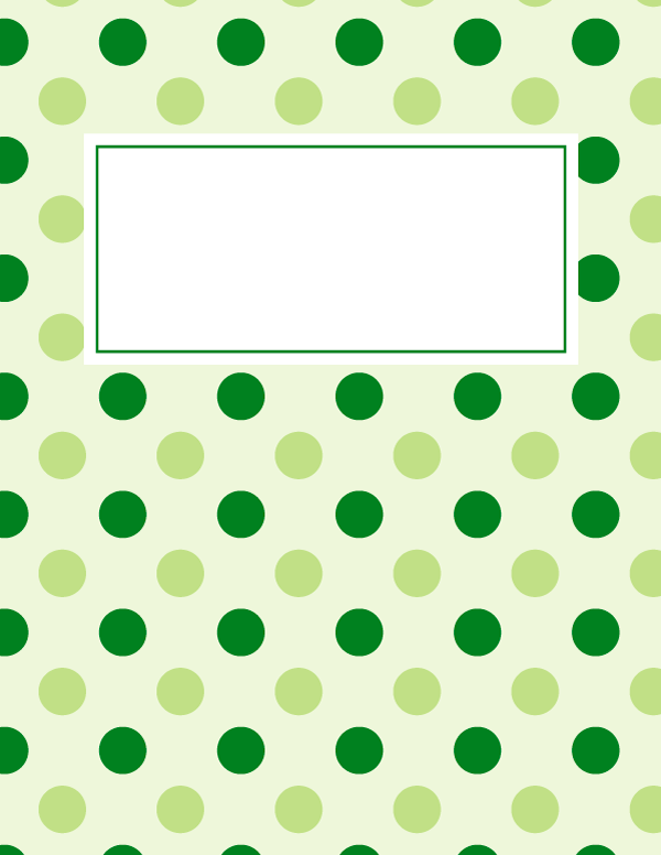 Free printable green polka dot binder cover template Download the – Dot Paper Template