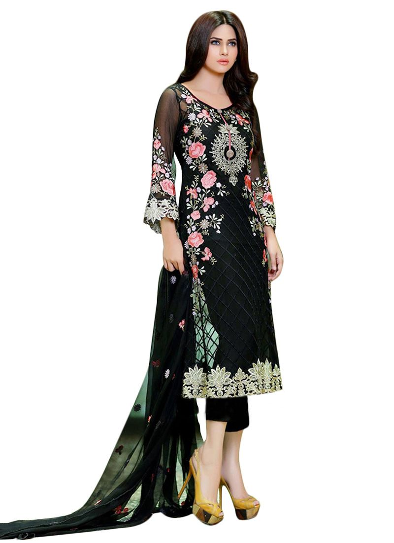 Buy Black Georgette Straight Pant Suit online from the wide ...