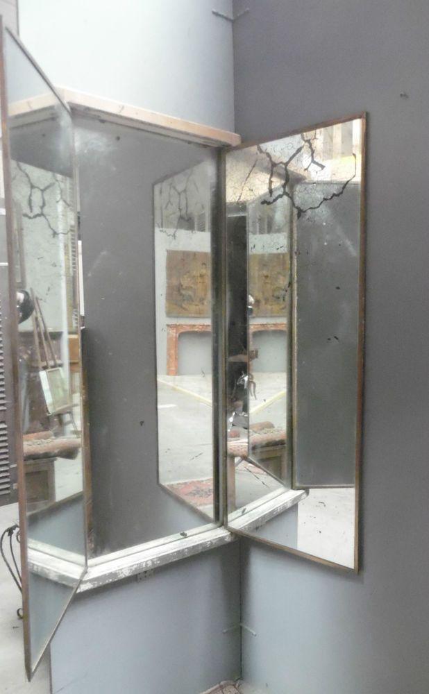 Miroir de magasin model triptyque trois vantaux osature chêne - Decoration Encadrement Porte Interieur