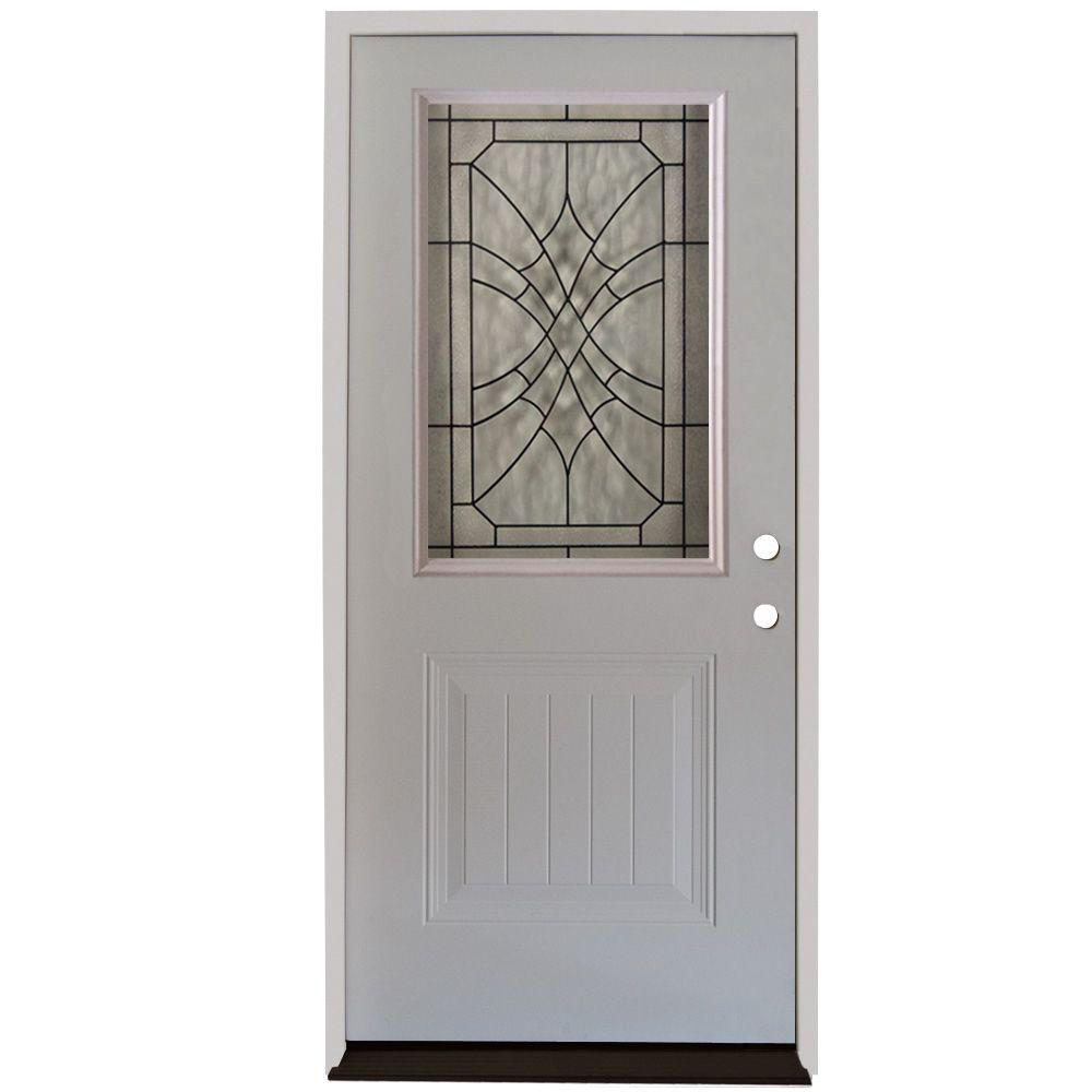 Steves Sons 32 In X 80 In Webville 1 2 Lite Plank Panel Primed White Steel Prehung Front Door S22h Wvp 32 6li The Home Depot Steel Entry Doors Garage Door Design Front Door