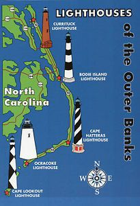 Outer Banks Lighthouses State Map Cape Hatteras  North Carolina