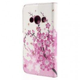 Galaxy Xcover 3 vaaleanpunaiset kukat puhelinlompakko