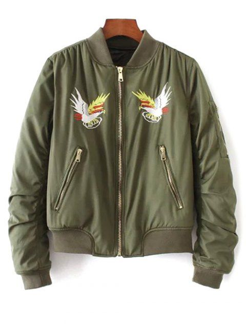 a270f9de8a Eagle Embroidered Quilted Bomber Jacket - ARMY GREEN S | Bomber ...