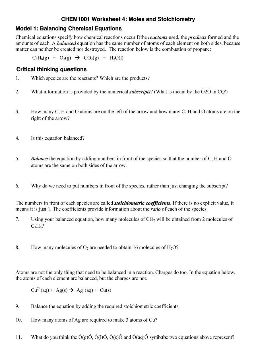 Download Balancing Equations 30 Chemical Equation Equations Geometry Worksheets